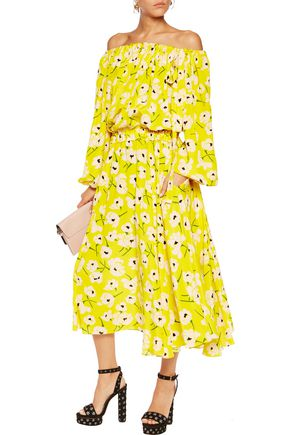 ROCHAS Floral-print silk-chiffon midi dress