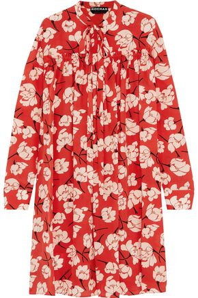 ROCHAS Pussy-bow ruffled floral-print silk dress