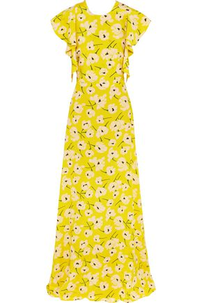 ROCHAS Ruffled floral-print silk maxi dress