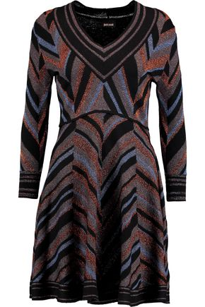JUST CAVALLI Metallic wool-blend mini dress