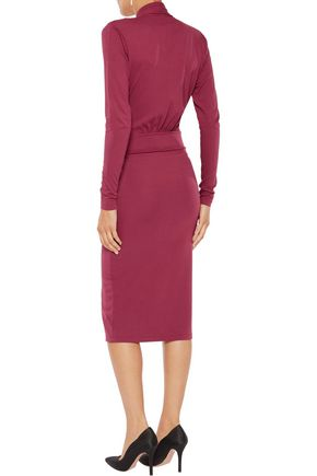 IRIS AND INK Louisa wrap-effect stretch-jersey midi dress