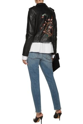 W118 by WALTER BAKER Lin embroidered leather biker jacket