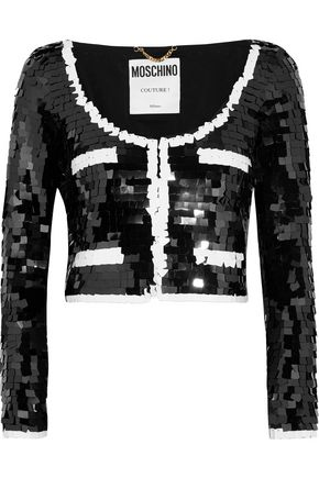 MOSCHINO COUTURE Cropped sequined tulle jacket