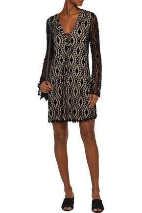 TART COLLECTIONS Jane lace-up velvet lace mini dress