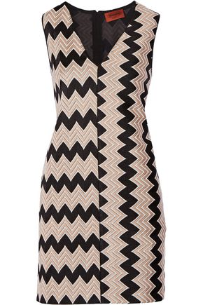 MISSONI Paneled crochet-knit mini dress