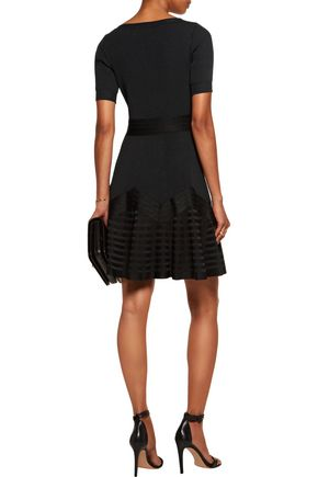 ANTONIO BERARDI Fluted paneled stretch-knit mini dress