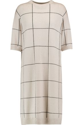BRUNELLO CUCINELLI Striped cashmere and silk-blend dress