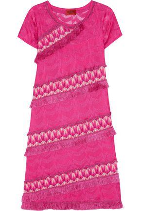 MISSONI Fringed metallic crochet-knit dress