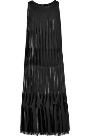 MISSONI Pleated crocher-knit wool-blend dress