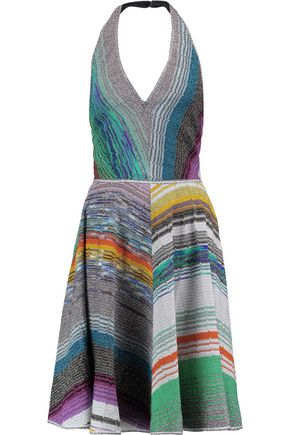 MISSONI Metallic crochet-knit halterneck dress