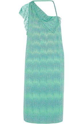 MISSONI Cold-shoulder metallic crochet-knit dress