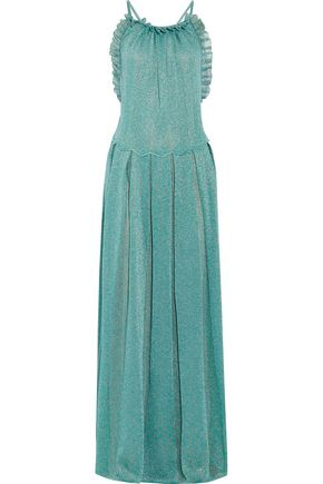 MISSONI Ruffle-trimmed metallic crochet-knit maxi dress