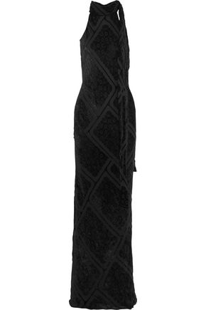 MAISON MARGIELA Draped flocked crepe de chine maxi dress