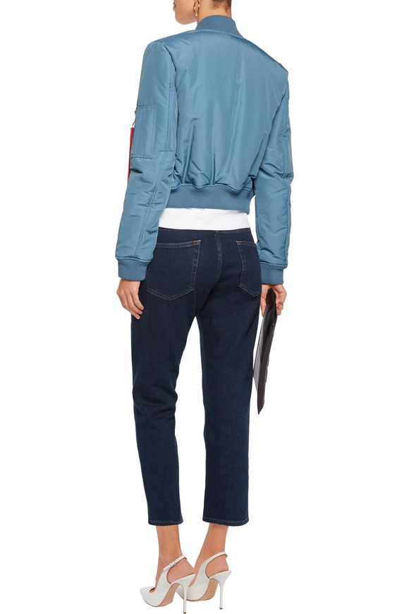 Cropped padded cotton-blend bomber jacket | LOVE MOSCHINO | Sale up to 70%  off | THE OUTNET