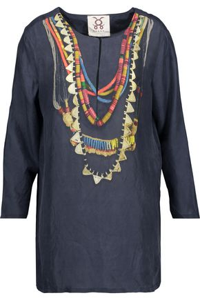 FIGUE Iris printed washed-silk broadcloth tunic