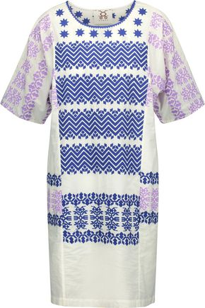 FIGUE Luz embroidered cotton-broadcloth mini dress
