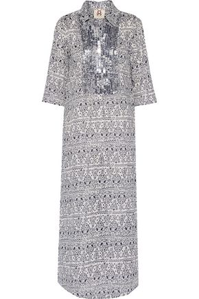 FIGUE Long Tux sequin-embellished printed cotton-broadcloth kaftan