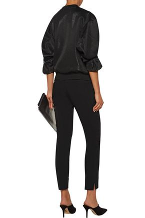 BY MALENE BIRGER Shrolia satin-trimmed iridescent textured-knit bomber jacket