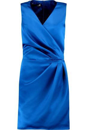 LOVE MOSCHINO Wrap-effect satin mini dress