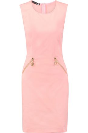 LOVE MOSCHINO Zip-detailed cotton-blend mini dress