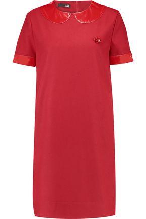 LOVE MOSCHINO PVC-paneled crepe mini dress