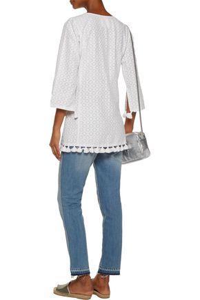 FIGUE Ella tasseled fil coupé cotton and silk-blend tunic