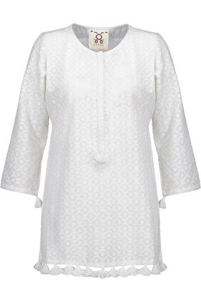 FIGUE Ella tasseled fil coupé cotton and silk-blend tunic
