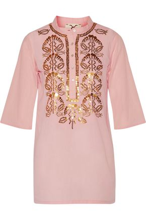 FIGUE Jasmine sequin-embellished cotton-broadcloth tunic