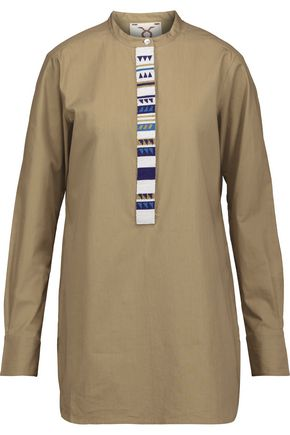 FIGUE Tatiana bead-embellished cotton-poplin tunic