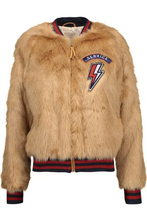 MOTHER The Letterman appliquéd faux fur jacket
