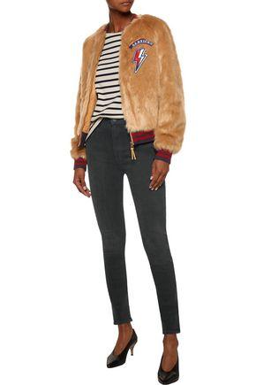 MOTHER The Letterman appliquéd faux fur jacket