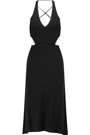 CUSHNIE ET OCHS Ribbed-knit halterneck midi dress