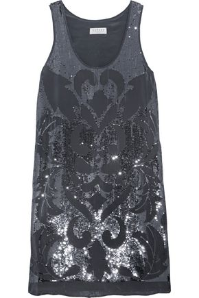 VELVET by GRAHAM SPENCER Sequined crepe de chine mini dress