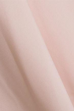 HALSTON HERITAGE One-shoulder draped crepe de chine dress