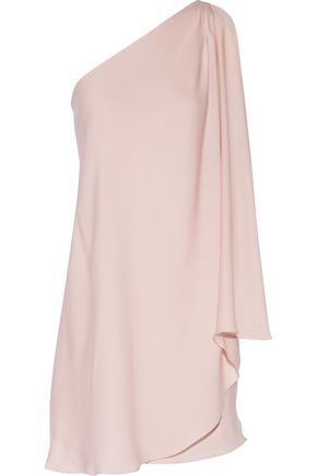 HALSTON HERITAGE One-shoulder draped crepe de chine mini dress ...