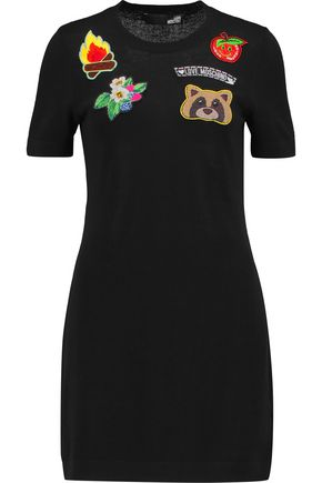 LOVE MOSCHINO Appliquéd stretch-cotton mini dress