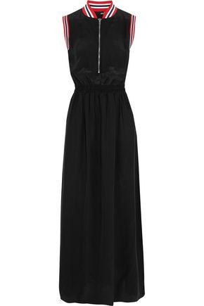 LOVE MOSCHINO Ribbed-knit trimmed crepe de chine maxi dress
