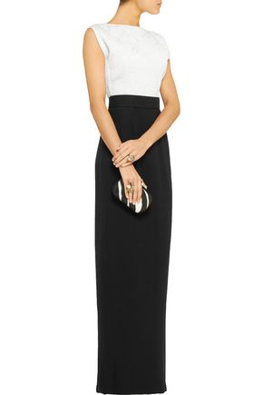 RAOUL Sloane two-tone brocade and silk-crepe gown