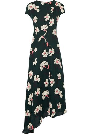 MARNI Asymmetric printed silk-chiffon midi dress