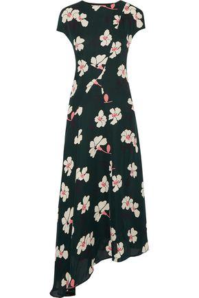 MARNI Asymmetric printed silk-chiffon midi dress