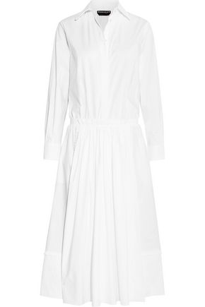 ROCHAS Ruffle-trimmed cotton-blend poplin midi dress