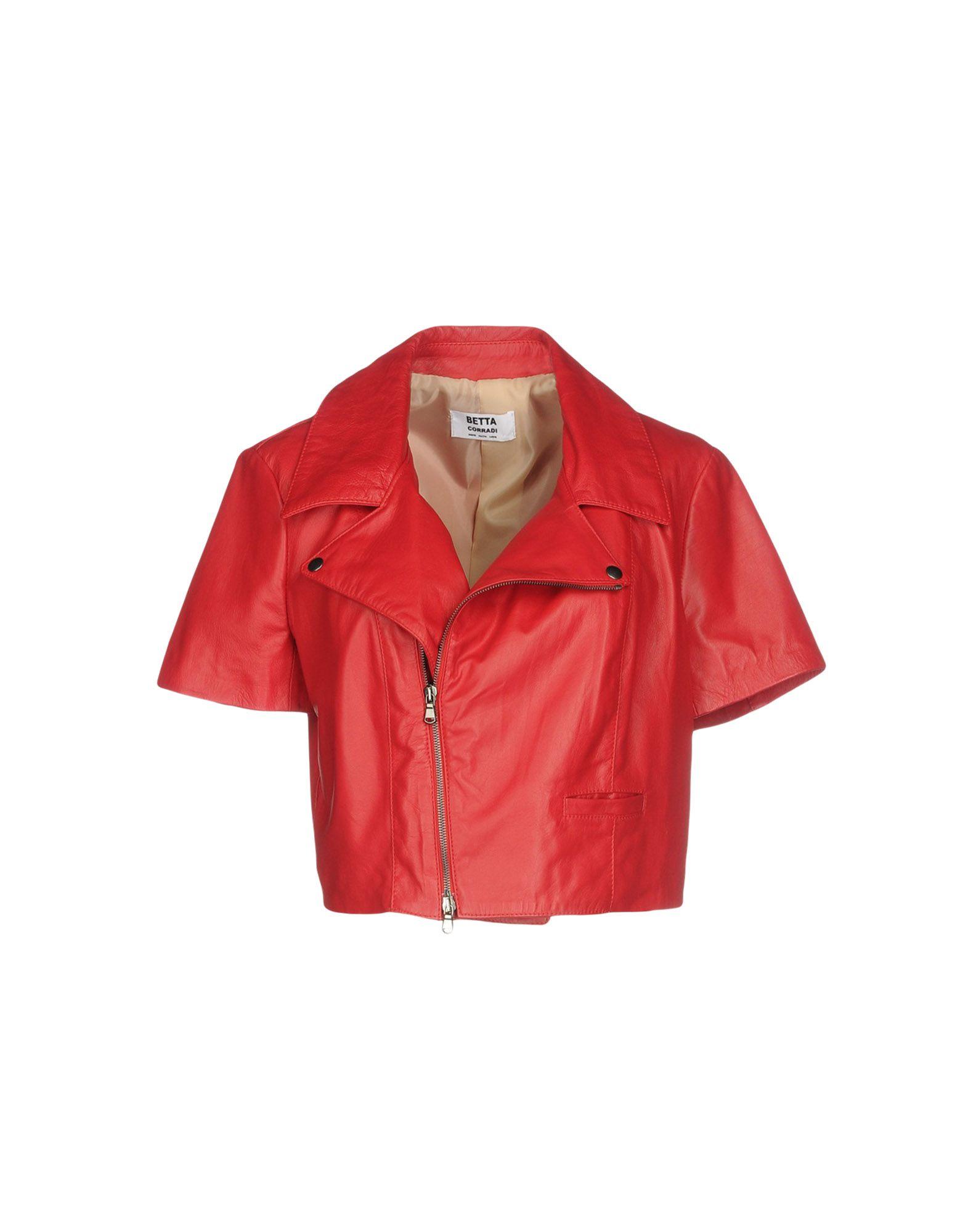 BETTA CORRADI Leather Jacket in Red