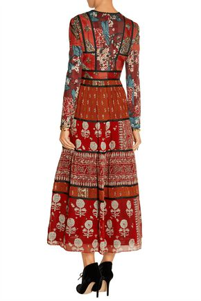 BURBERRY Paneled printed canvas and silk-georgette midi dress