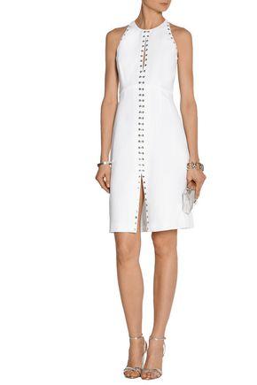 ROBERTO CAVALLI Eyelet-embellished crepe dress