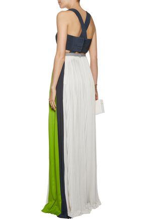 VIONNET Color-block pleated crepe gown