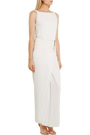 DONNA KARAN Embellished gathered stretch-jersey gown