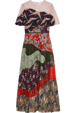 VALENTINO Lace-paneled patchwork-effect printed silk dress