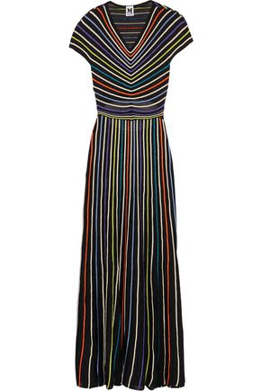 M MISSONI Striped metallic cutout crochet-knit maxi dress