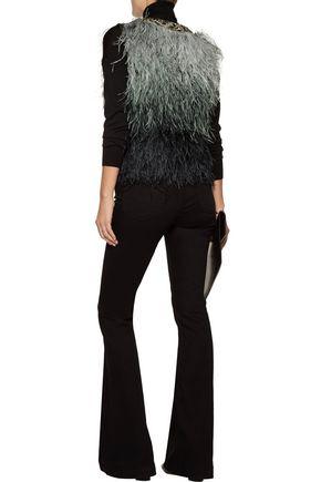 HAUTE HIPPIE Ombré feather and silk vest
