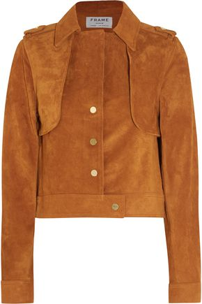 FRAME Le Cropped Trench suede jacket